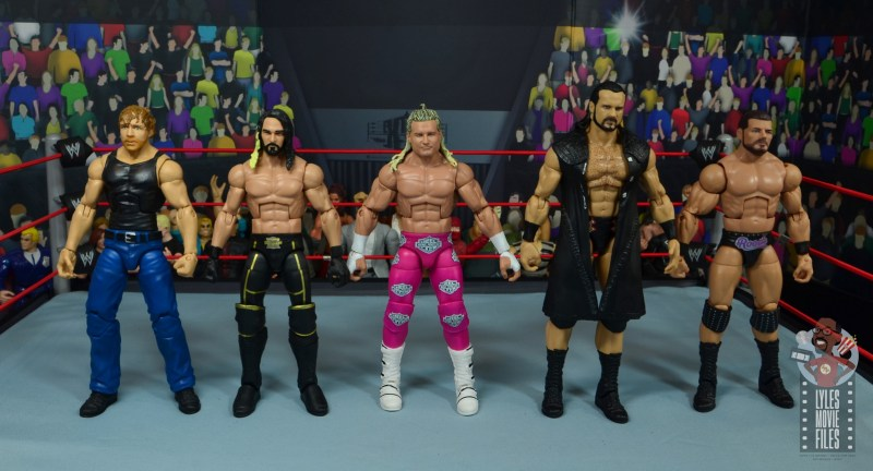 wwe elite 70 dolph ziggler figure review - scale with dean ambrose, seth rollins, drew mcintyre and robert roode