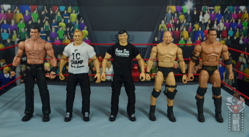 wwe elite gerald brisco figure review - scale with vince mcmahon, pat patterson, stone cold and the rock