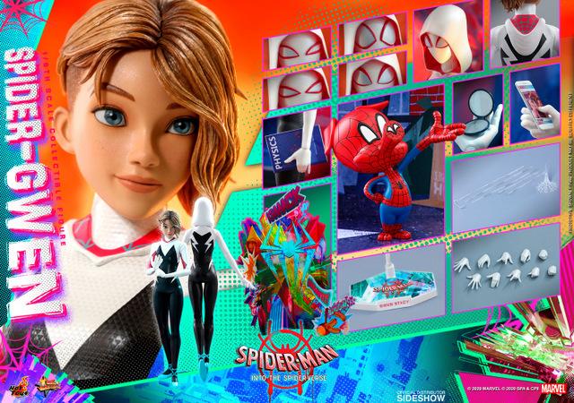 hot toys spider-man into the spider-verse spider-gwen figure - collage