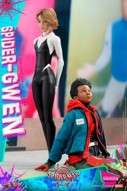 hot toys spider-man into the spider-verse spider-gwen figure - hanging with miles