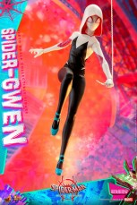 hot toys spider-man into the spider-verse spider-gwen figure - hooded with web