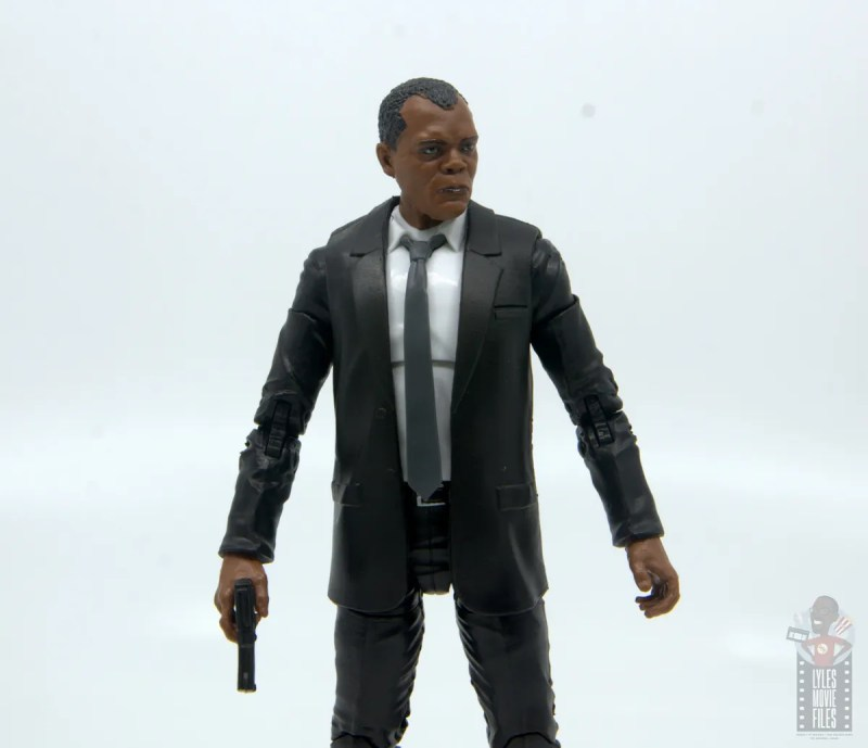 marvel legends captain marvel nick fury figure review - looking to the side