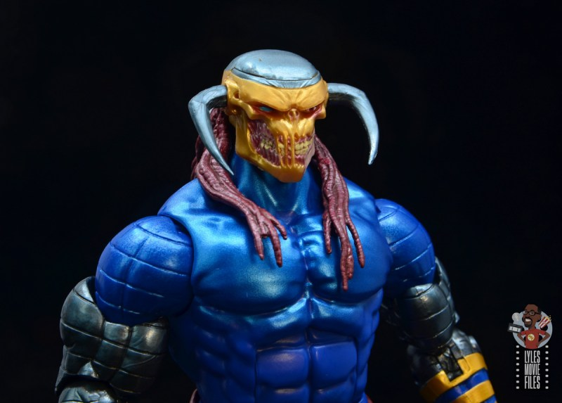 marvel legends death head ii figure review - head close up right side