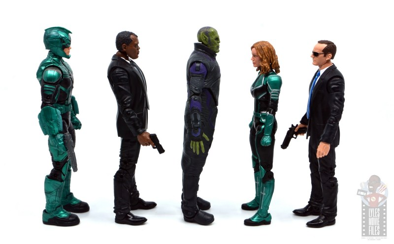 marvel legends talos figure review - facing yon-rogg, nick fury, captain marvel and agent coulson