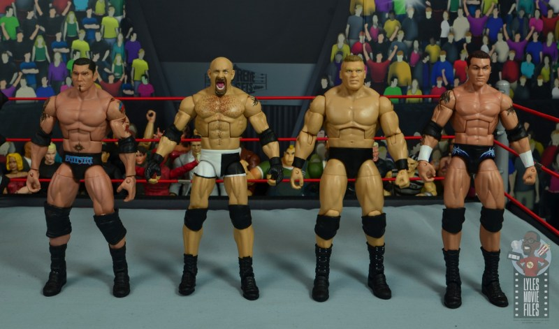 wwe elite #74 goldberg figure review - scale with randy orton, batista and brock lesnar