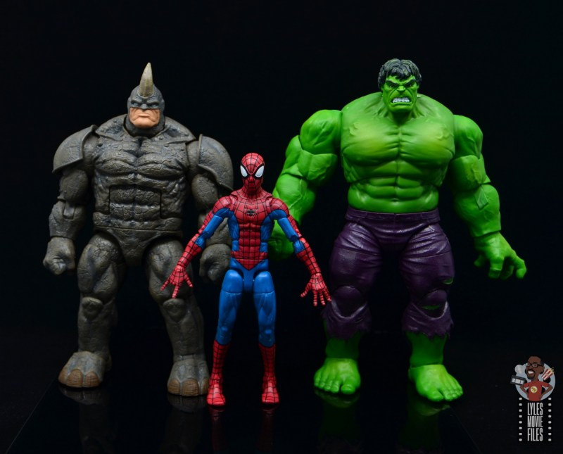 marvel legends build-a-figure rhino figure review - scale with spider-man and the hulk