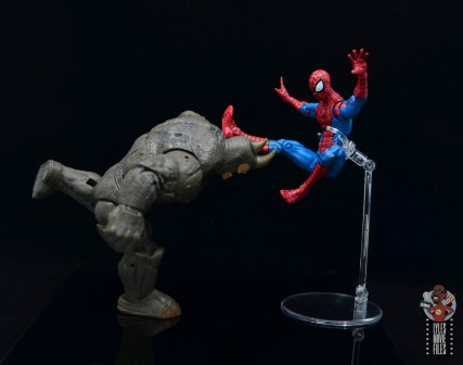 marvel legends build-a-figure rhino figure review - taking on spider-man