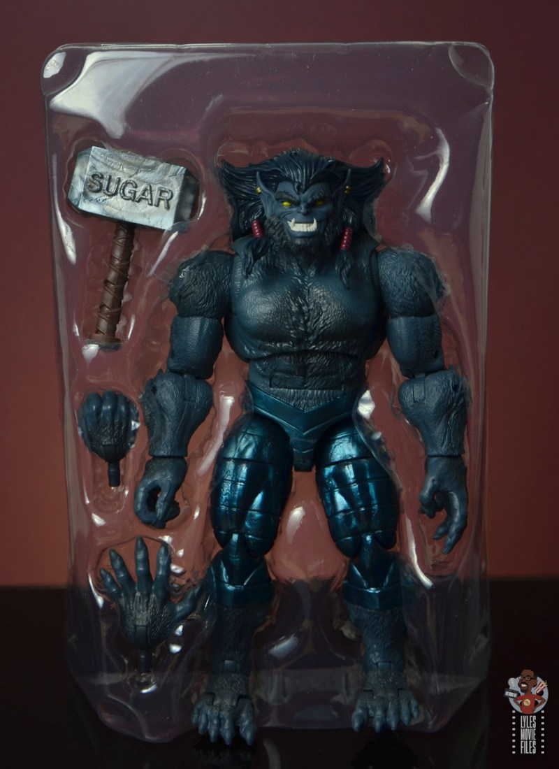 marvel legends dark beast figure review - accessories in tray