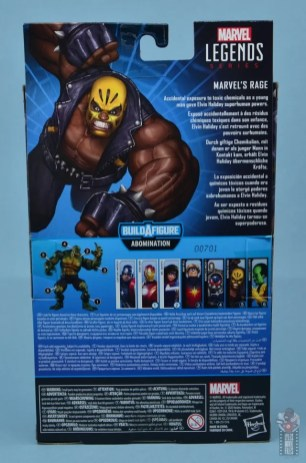 marvel legends rage figure review -package rear