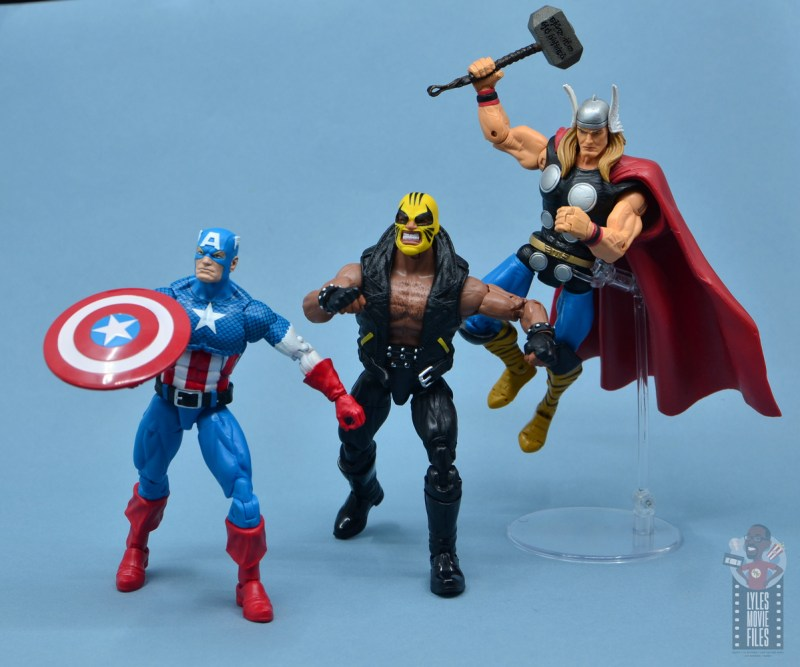 marvel legends rage figure review - with captain america and thor