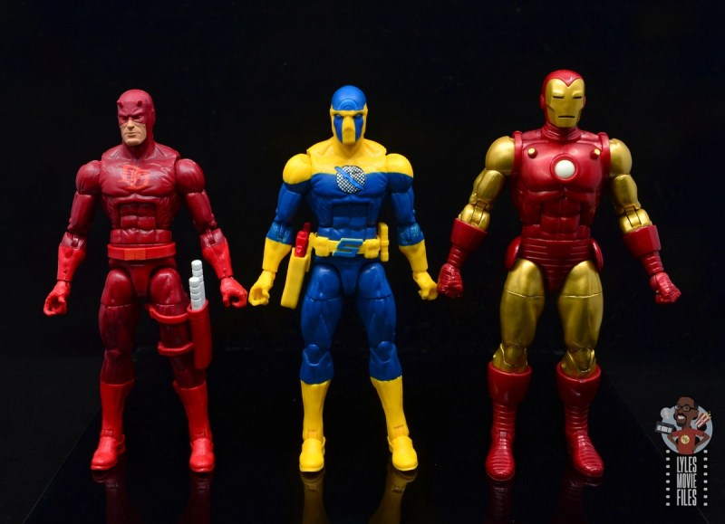 marvel legends spymaster figure review - scale with daredevil and iron man