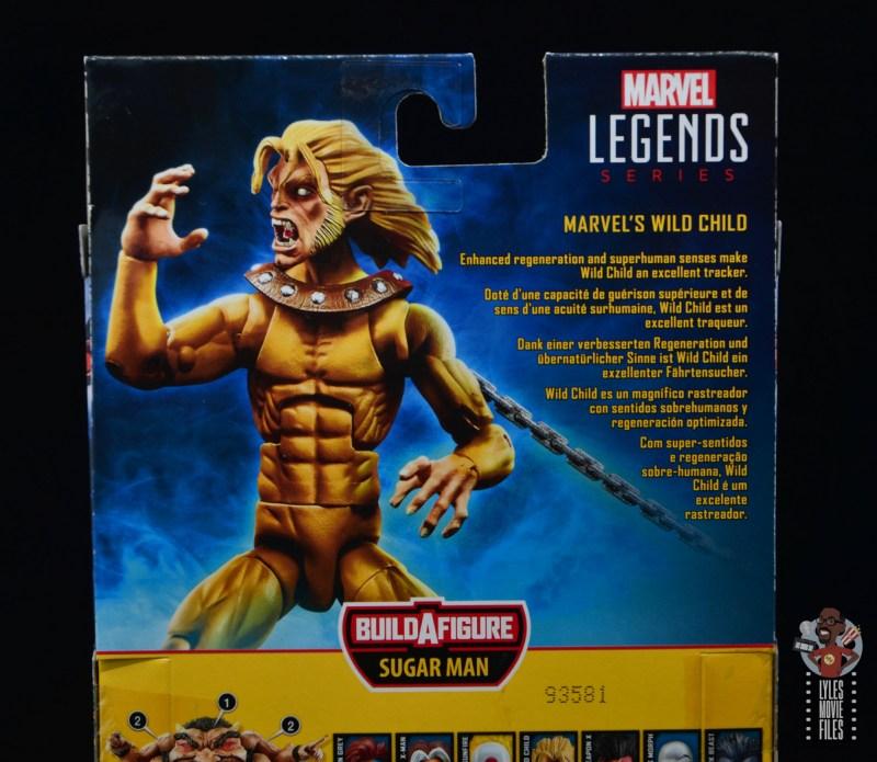 marvel legends wild child figure review - package bio