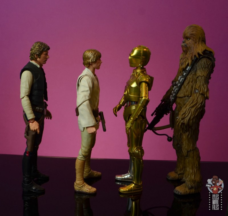 sh figuarts star wars c-3p0 figure review - facing han solo, luke skywalker and chewbacca