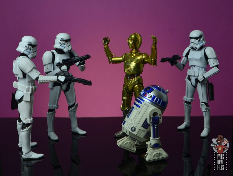 sh figuarts star wars c-3p0 figure review - surrounded by stormtroopers