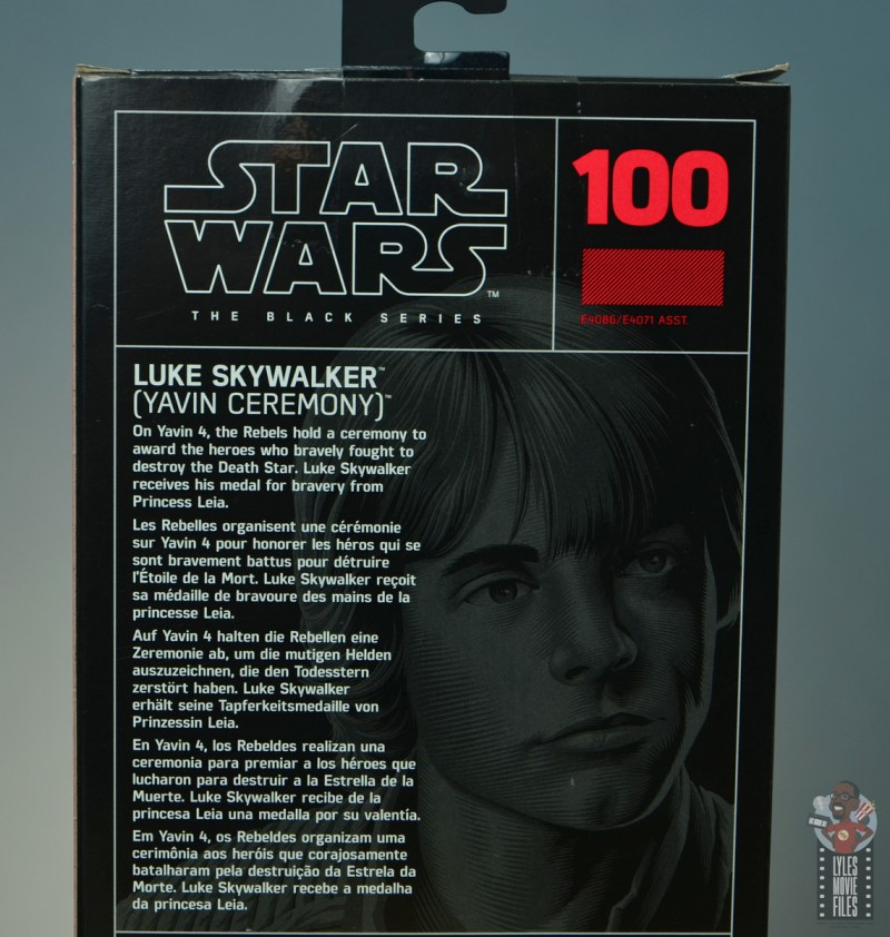 star wars the black series yavin celebration luke skywalker figure review - package bio