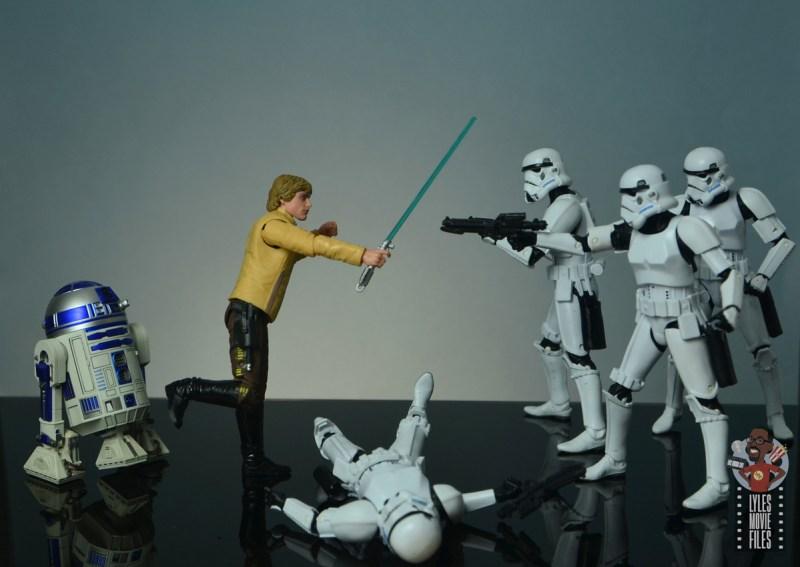 star wars the black series yavin celebration luke skywalker figure review - vs stormtroopers