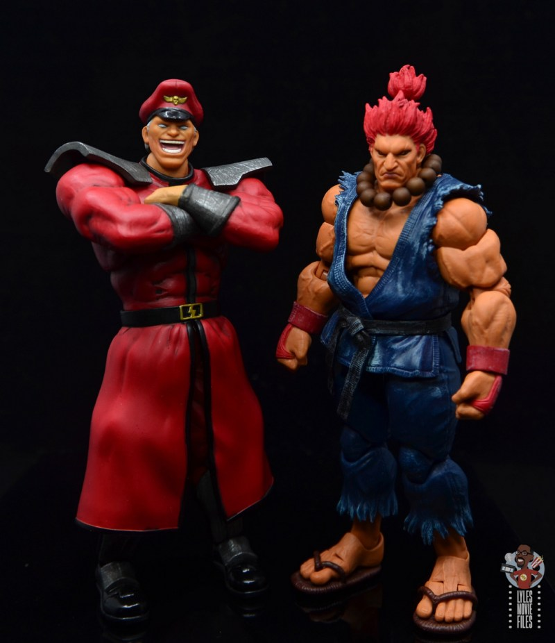 storm collectibles street fighter m. bison figure review - side by side with akuma