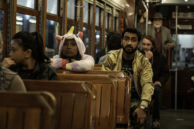 the lovebirds review - leilani and jabrani on the trolley