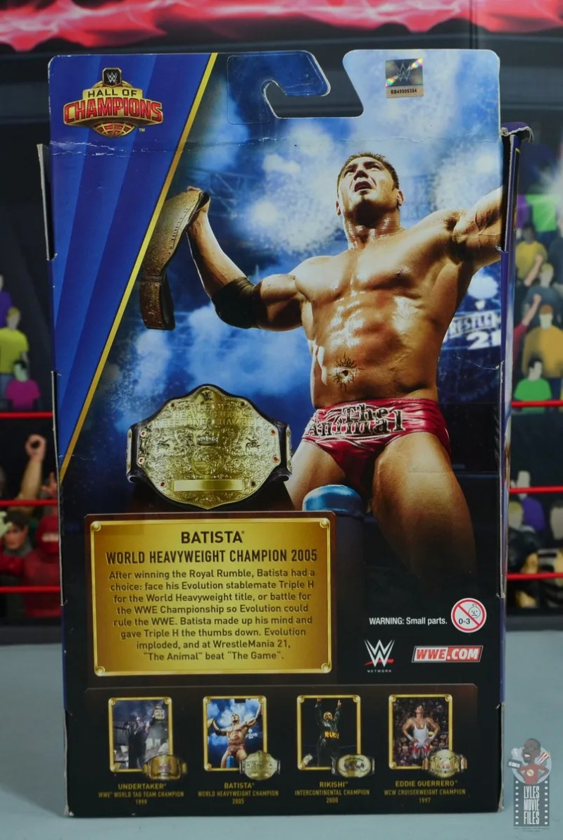 wwe elite hall of champions batista figure review - package rear