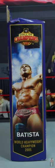 wwe elite hall of champions batista figure review - package right side
