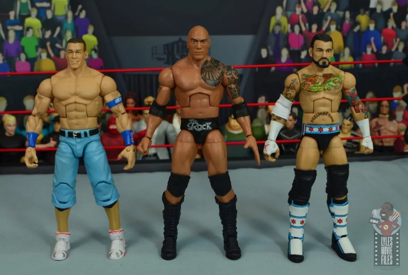 wwe elite royal rumble the rock figure review - scale with john cena and cm punk