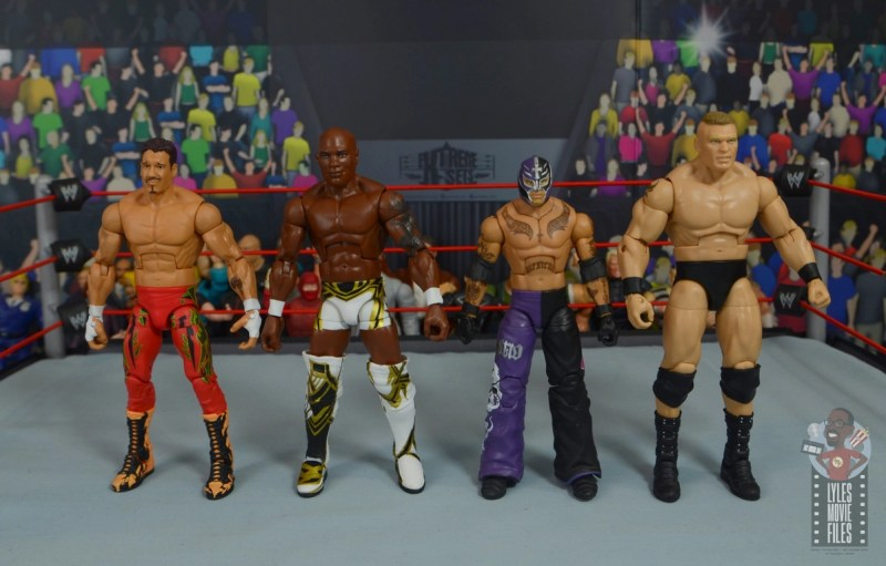 wwe elite shelton benjamin figure review - scale with eddie guerrero, rey mysterio and brock lesnar