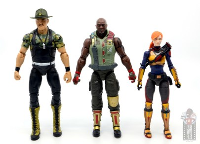 gi joe classified series roadblock figure review - scale with mattel sgt slaughter and scarlett