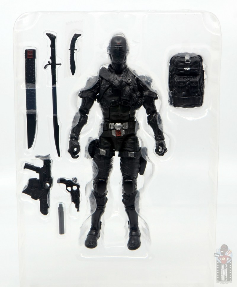 gi joe classified series snake eyes figure review - accessories in tray