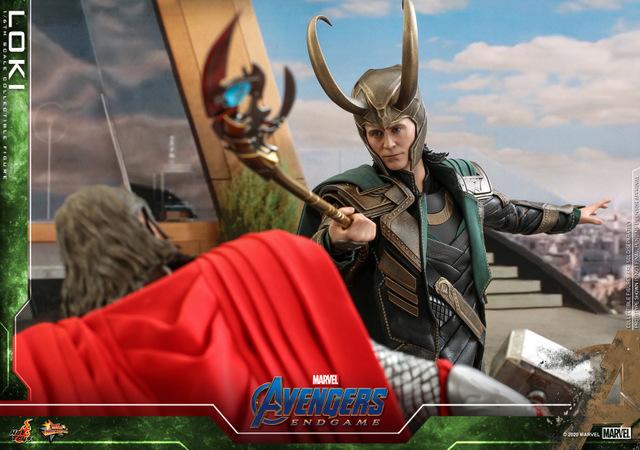 hot toys avengers endgame loki figure - fighting thor