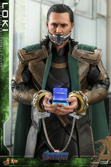 hot toys avengers endgame loki figure - handcuffed and bound with tesseract