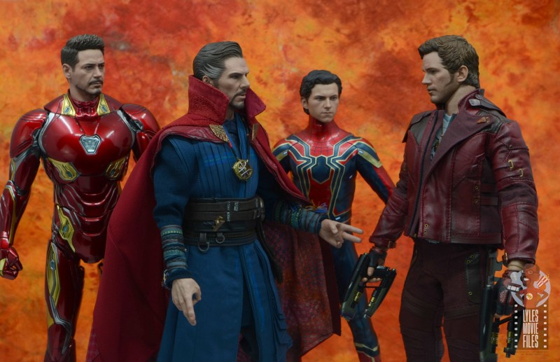 hot toys avengers infinity war doctor strange figure review - talking with iron man, iron spider and star-lord