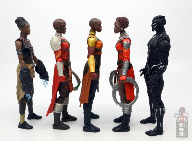 marvel legends build a figure okoye figure review -facing shuri, ayo, nakia and black panther