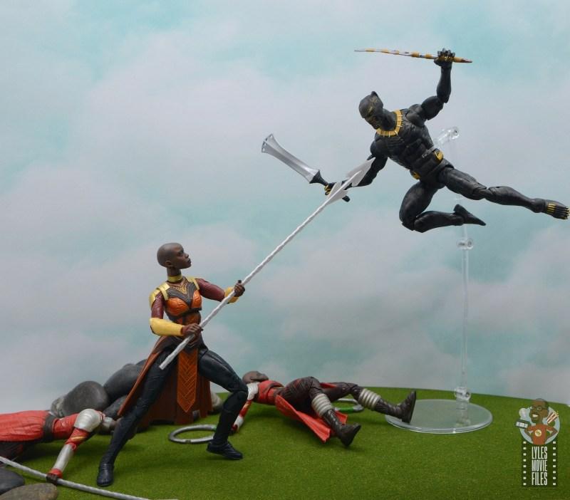 marvel legends build a figure okoye figure review -vs killmonger