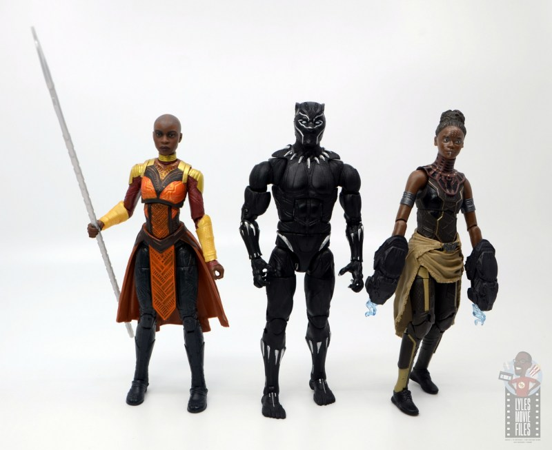 marvel legends build a figure okoye figure review -with black panther and nakia