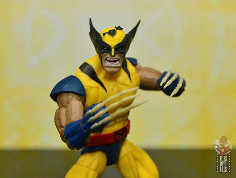 marvel legends cyclops, jean grey and wolverine set review -damaged cowl close up