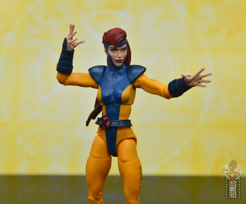 marvel legends cyclops, jean grey and wolverine set review - jean grey braced for battle