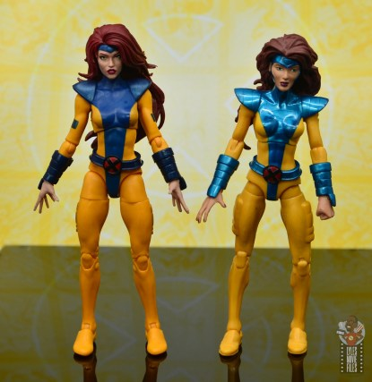 marvel legends cyclops, jean grey and wolverine set review - jean grey with original jean grey front
