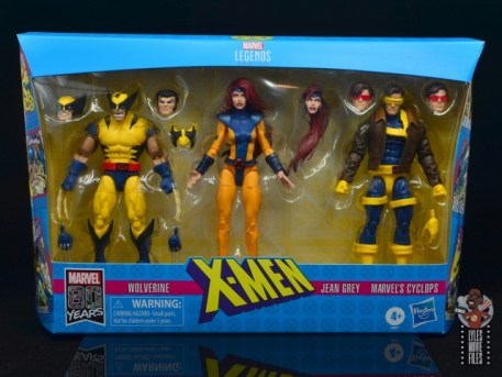 marvel legends cyclops, jean grey and wolverine set review - package front