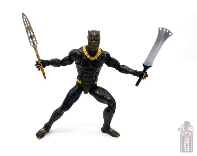 marvel legends erik killmonger figure review - wielding weapons