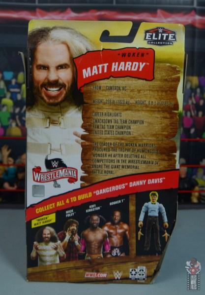 wwe elite wrestlemania woken matt hardy figure review - package rear