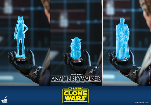 hot toys anakin skywalker clone wars figure -with ahsoka, yoda and obi-wan holograms