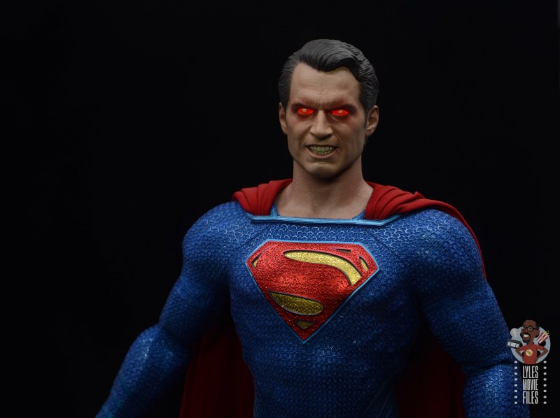 hot toys justice league superman figure review - heat vision head sculpt close up