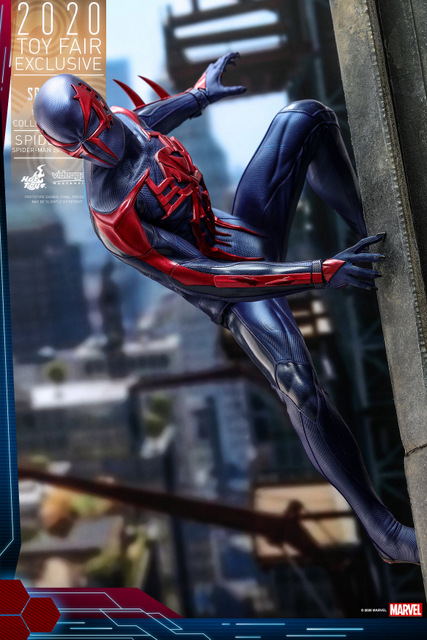hot toys spider-man 2099 figure - side shot on wall