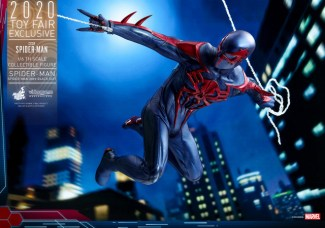 hot toys spider-man 2099 figure - slinging the web