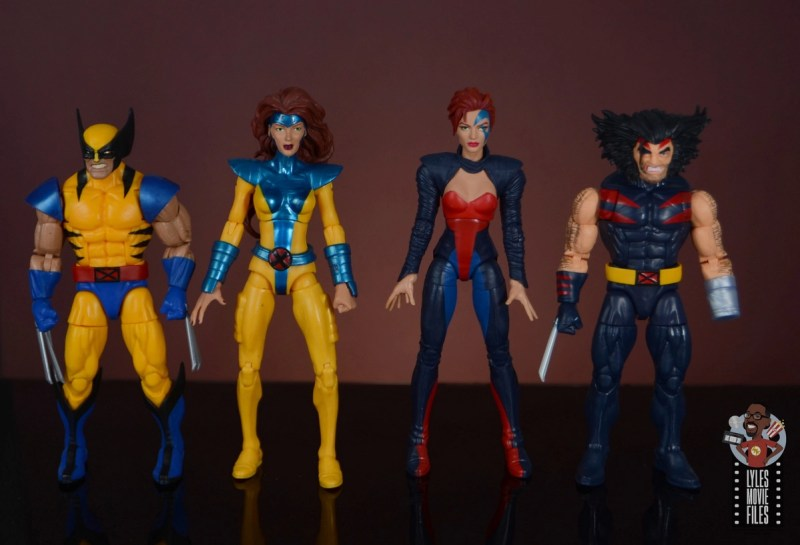 marvel legends age of apocalypse jean grey figure review - scale with wolverine, jean grey and weapon x