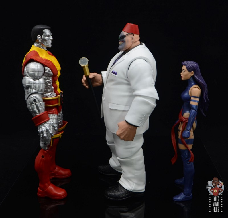 marvel legends build-a-figure shadow king figure review - facing colossus and psylocke