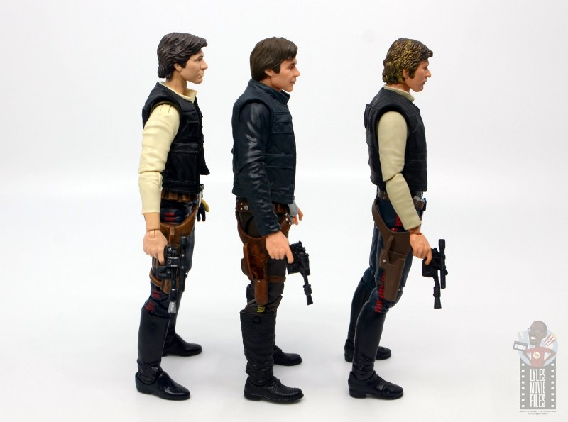 star wars the black series han solo figure review - side comparison with blaster out