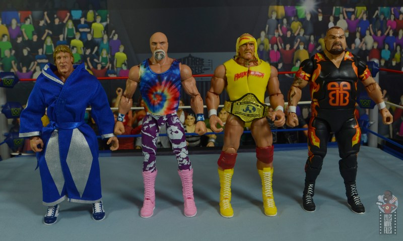 wwe elite 78 superstar billy graham figure review - scale with paul orndorff, hulk hogan and bam bam bigelow