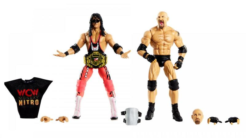wwe elite bret hart vs goldberg set - all the accessories