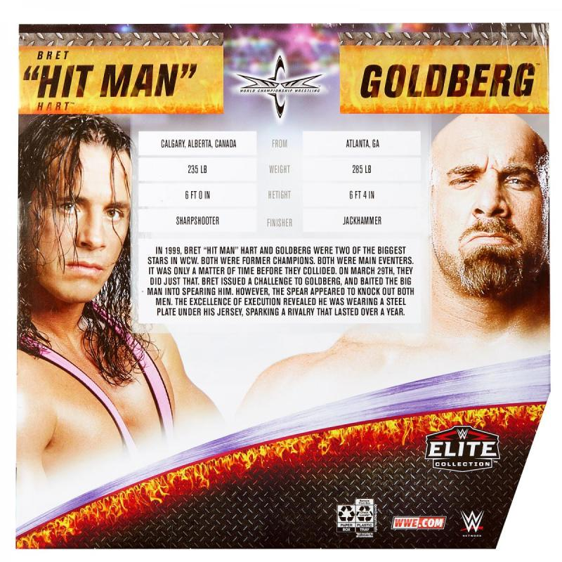 wwe elite bret hart vs goldberg set - rear package